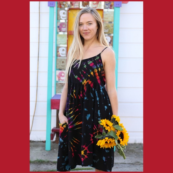 95e5122c39 Triangle Tie Dyed Spaghetti Strap Dress Pockets